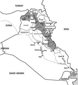 De omstridte områdene. Kart fra International Crisis Group
