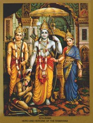 Rama i i midten omgitt av broren Lakshman og hustruen Sita, samt den trofaste Hanuman.