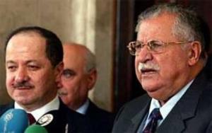 Massoud Barzani og Jalal  Talabani deler idag makta i Sørkurdistan.