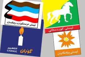 Fargerike reklameplakater for   ulike lister preger gatene i Kurdistan
