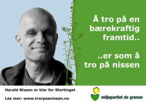 Harald Nissen er en av miljøpartiets dyktige  og engasjerte kandidater ved årets valg.