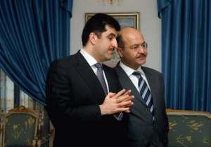 Påtroppende statsminister Barham Salih  (til høyre) sammen med sin forgjenger Nechirvan Barzani