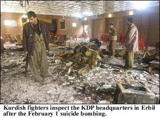 KDPs møtelokale i Arbil  i februar 2004, etter  at en tilhenger  av Mulla Krekar hadde sprengt seg og mange andre i småbiter