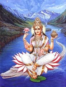 Ma Ganga rir på en Ganges-gavial