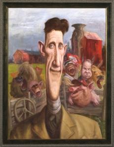 Orwell sammen med skikkelser fra hans satire  over sovjetdiktaturet:  Animal Farm (Kamerat Napoleon).