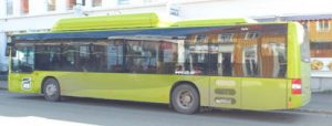 MAN-buss i Trondheim, med gasstanker på taket.