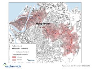 Her er det  tegnet inn rute til Dragvoll med tunnel fra Buran til Valentinlyst