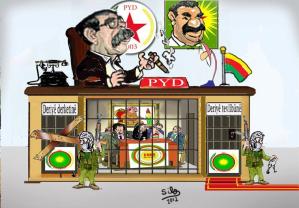 I denne  karikaturtegningen  sitter PYDS leder Salih Muslim trygt under bildet av Apo, mens lederne for KNC-partiene er inensperret under  et bilde av Massoud Barzani, presidenten i Sørkurdistan.
