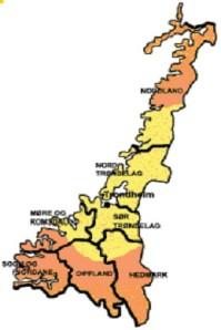 Det gule området viser aktuelt leveringsområde for avfall til Heimdal varmesentral