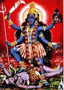 Kali står over Shiva.