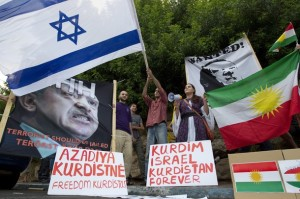Israelske kurdere demonstrerer mot  den tyrkiske statsminsteren