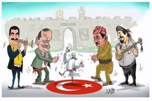 Denne tegningen viser (fra venstre) Tatlises, Erdogan, Barzani og Perwer-