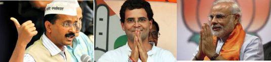 Tre indiske politikere: Valgvinner Narendra Modi (til høyre) spiller på hindu-nasjonalisme, og kongresspartiets Rahul Gandhi satset uten hell på sitt gode navn, mens Ervind Kejriwal (til venstre) vil feie den begge ut.
