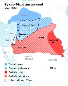 En hemmelig avtale mellom England og Frankrike tegnet  i 1916 nye grenser  i Midtøsten, på tvers av etniske og kulturelle sammenhenger. Nå blir de revidert på bakken.