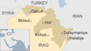 Dette kartet fra BBC viser de tre kurdiske provinsnee med grenser fra 1970.