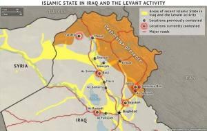 Antatt situasjon i Irak 22. juni. Kurdiske styrker holder  Sinjarplatået i vest, og den viktige grenseovergangen  nord for Tal Afar, som kurdisk PYD holder på syrisk side.