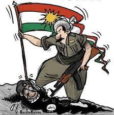 En triumferende kurdisk karikatur.