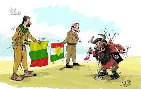 På denne tegningen ser vi  en (vikinglignende?)  representant for ISIL stå overfor kurdisk enhet , representert  av en geriljasoldat med flagget til PKK og en peshmerga med flagget til  KRG.