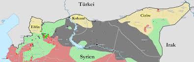 De tre kantonene som utgjør    Rojava er merket i gult